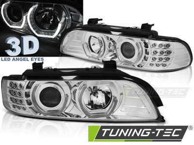 BMW E39 95-03 Фары 3D Led Angel Eyes хром