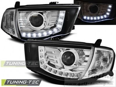 Mitsubishi L200 06-10 Фары Devil eyes, Dayline хром