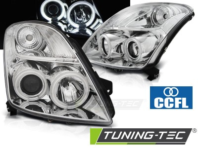 Suzuki Swift 05-10 Фары CCFL Angel eyes хром
