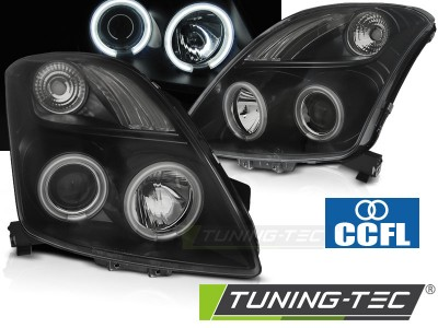 Suzuki Swift 05-10 Фары CCFL Angel eyes черные