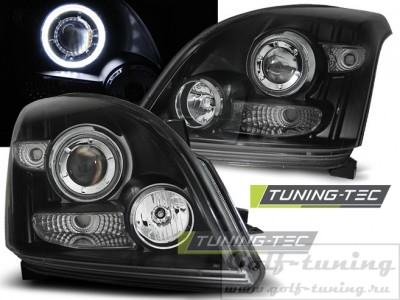 Toyota Land Cruiser 120 03-09 Фары Angel eyes черные