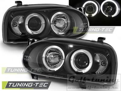 VW Golf 3 Фары Angel eyes черные