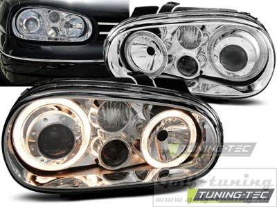 VW Golf 4 Фары Angel eyes хром