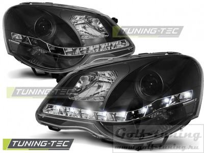 VW Polo 9N 05-09 Фары Devil eyes, Dayline черные