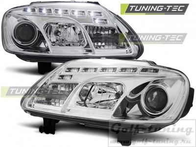 VW Touran/Caddy 03-06 Фары Devil eyes, Dayline хром