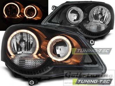 VW Polo 9N 05-09 Фары Angel eyes черные