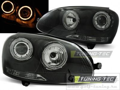 VW Golf 5 Фары Angel eyes черные