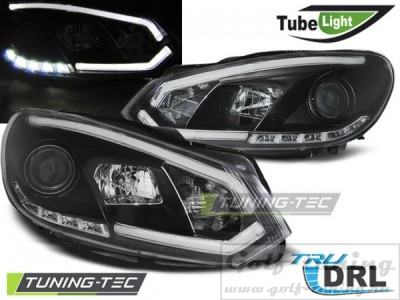 VW Golf 6 Фары Tube lights черные