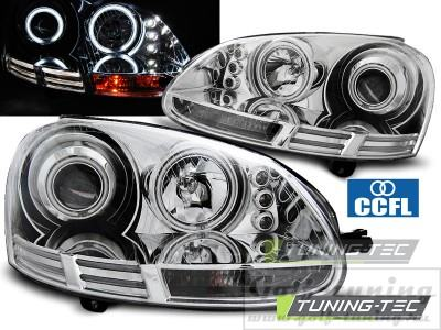VW Golf 5 Фары Angel eyes хром