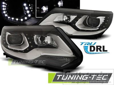 VW Tiguan 11-16 Фары Devil eyes, Dayline черные