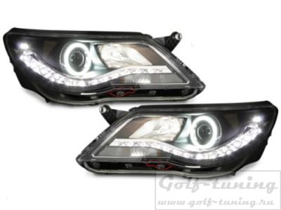 VW Tiguan 07-11 Фары Devil eyes, Dayline черные