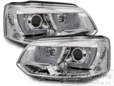 VW T5 09-15 Фары LED-Lightguide design хром