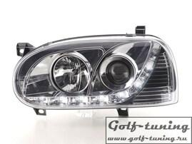 VW Golf 3 Фары Devil eyes, Dayline хром