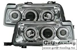 Audi 80 B4 91-94 Фары с линзами и ангельскими глазками хром