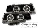 BMW E38 97-02 Фары с линзами и ангельскими глазками черные