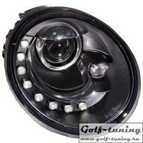 VW Beetle 98-05 Фары Devil eyes, Dayline черные под ксенон