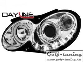 Mercedes W209 03-10 Фары Devil eyes, Dayline хром