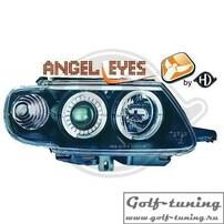 Citroen Saxo 96-99 Фары с линзами и ангельскими глазками черные