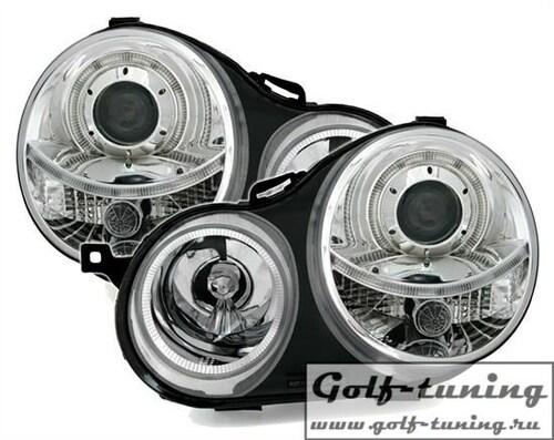 VW Polo 9N 01-05 Фары с линзами и ангельскими глазками хром
