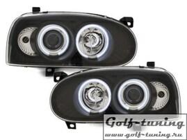 VW Golf 3 Фары с линзами и CCFL ангельскими глазками черные