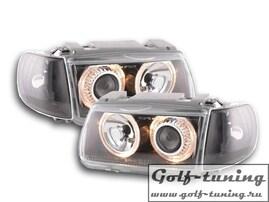 VW Polo 6N 94-99 Фары с линзами и ангельскими глазками черные
