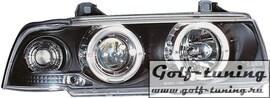 BMW E36 2Дв Фары с линзами и ангельскими глазками черные