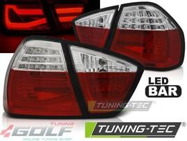 BMW E90 05-08 Фонари светодиодные, lightbar design, красно-белые