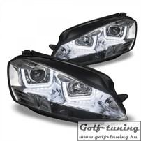 VW Golf 7 12-17 Фары с 3D ангельскими глазками хром