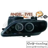 Citroen Xsara 97-00 Фары с линзами и ангельскими глазками черные