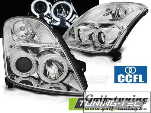 Suzuki Swift 05-10 Фары CCFL Angel eyes хром