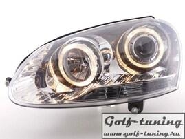 VW Golf 5 Фары с линзами и ангельскими глазками хром