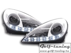 Mercedes R171 04-11 Фары Devil eyes, Dayline хром под ксенон