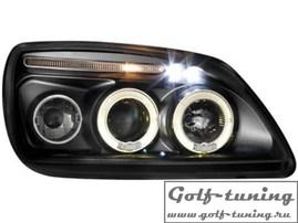 Ford Fiesta 99-00 Фары с линзами и ангельскими глазками черные
