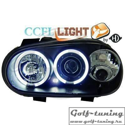 VW Golf 4 Фары с CCFL ангельскими глазками и линзами черные