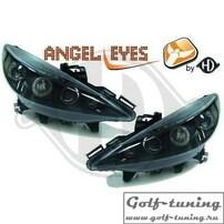 Peugeot 207 06-12 Фары с линзами и ангельскими глазками черные