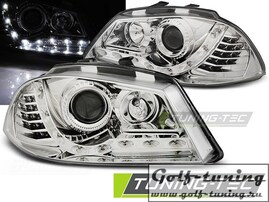 Seat Ibiza 6L 02-08 Фары Devil eyes, Dayline хром с светодиодным поворотником
