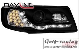 Audi 100 90-94 Фары Devil eyes, Dayline черные с светодиодным поворотником