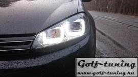 VW Golf 6 Фары в стиле Golf 7 GTI с хром полосой