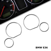 BMW E36 Комплект хромированных колец в приборную панель