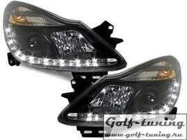 Opel Corsa D 06-10 Фары Devil eyes, Dayline черные