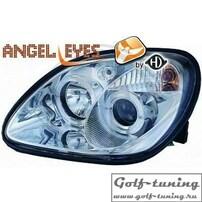 Mercedes R170 96-04 Фары с линзами и ангельскими глазками хром