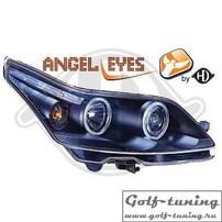 Citroen C4 04-09 Фары с линзами и ангельскими глазками черные