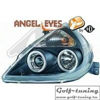 Ford KA 96- Фары с ангельскими глазками и линзами черные