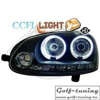 VW Golf 5 Фары Dayline с линзами и CCFL ангельскими глазками черные