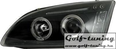 Ford Focus 04-08 Фары с линзами и ангельскими глазками черные