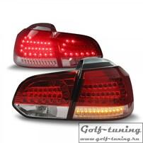VW Golf 6 Фонари светодиодные, красно-белые с светодиодным поворотником Urban style