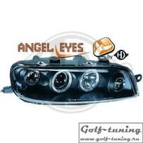 Fiat Punto 99-03 Фары с ангельскими глазками и линзами черные