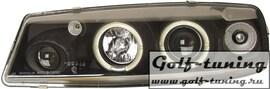 Opel Calibra Фары с линзами и ангельскими глазками черные