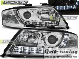 Audi A6 97-01 Фары Devil eyes, Dayline хром