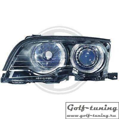 BMW E46 Купе/Кабрио 01-03 Фары с линзами и ангельскими глазками черные